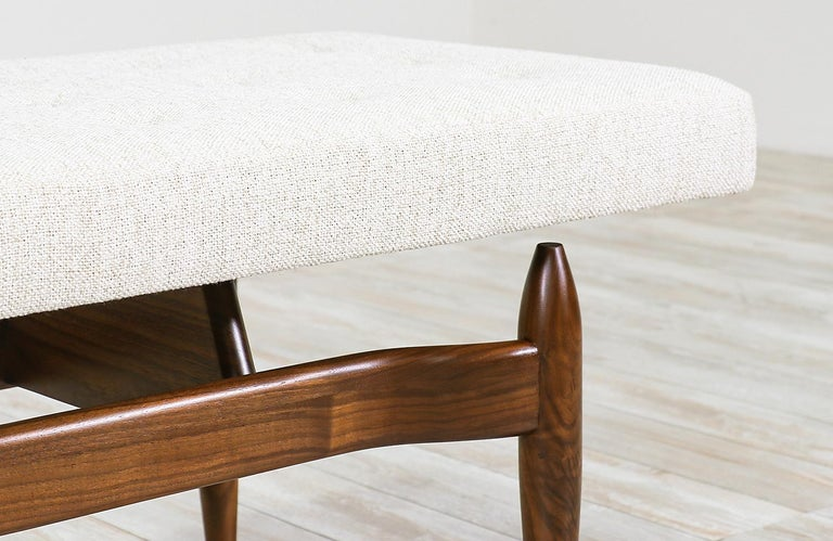 Contemporary Mid-Century Modern Style Floating Tufted Bench For Sale