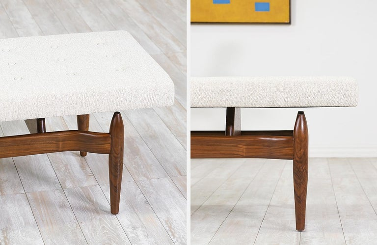Fabric Mid-Century Modern Style Floating Tufted Bench For Sale