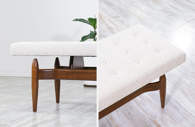 Mid-Century Modern Style Floating Tufted Bench For Sale 1