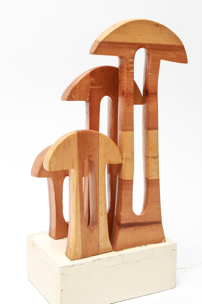 Mid-Century Modern Style 'Four Funny Mushrooms' Wood Sculpture In Good Condition For Sale In New York, NY