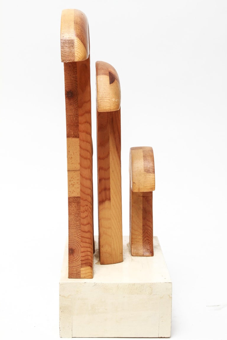 Late 20th Century Mid-Century Modern Style 'Four Funny Mushrooms' Wood Sculpture For Sale