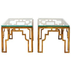 Mid-Century Modern Style Gilded Wrought Iron and Glass Side Tables