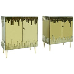 Mid-Century Modern Style Glass and Golden Mirror Pair of Italian Sideboards