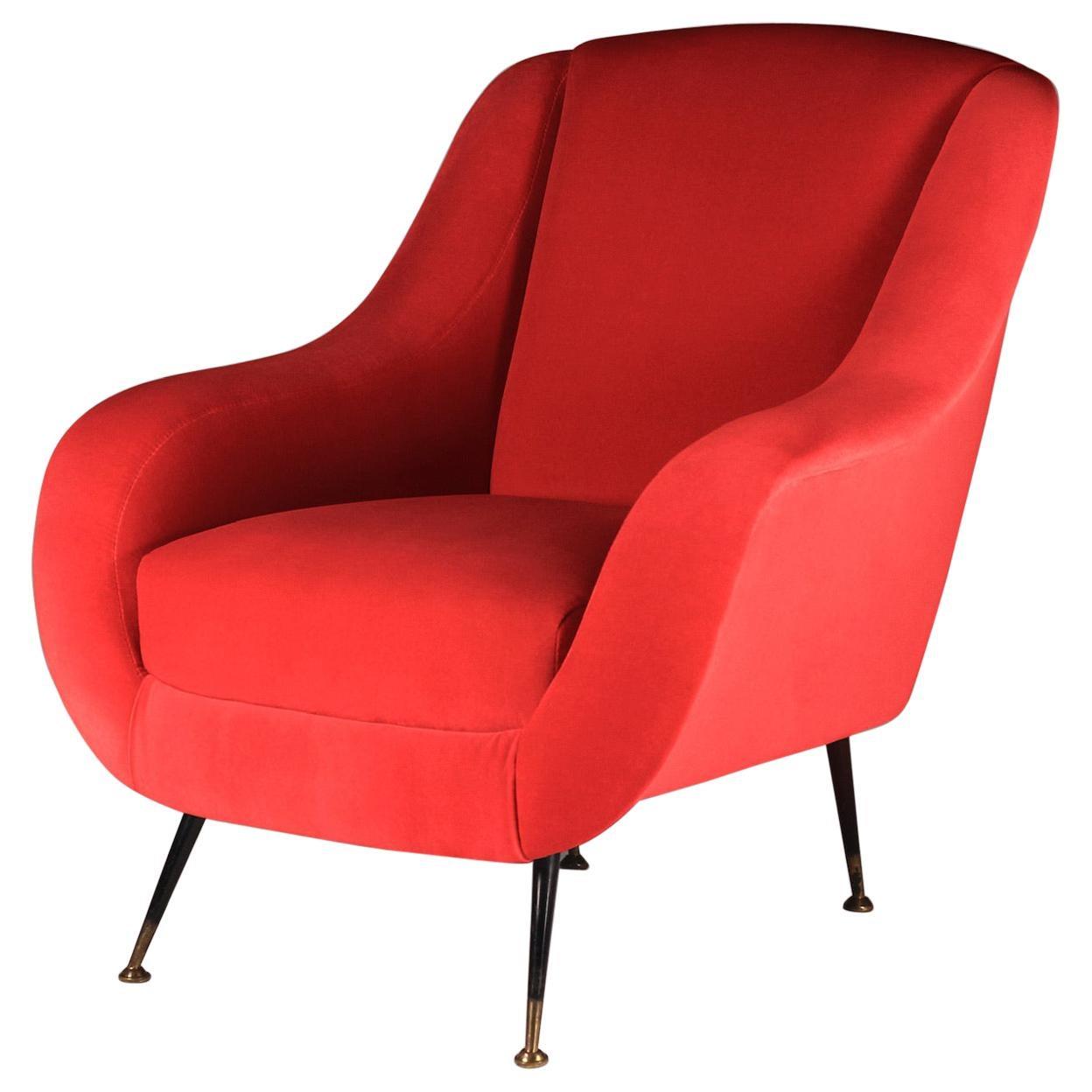 Mid-Century Modern Style Inspired Italian Lounge Chair 'Sophia' in Red Velvet