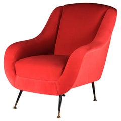 Mid-Century Modern Style Inspired Italian Lounge Chair 'Sophia' in Red Velvet