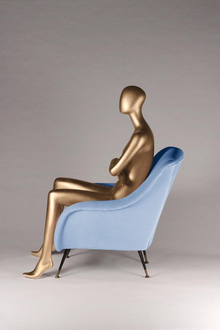 British Mid-Century Modern Style Italian Lounge Chair in Light Blue Velvet For Sale