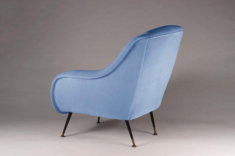 Contemporary Mid-Century Modern Style Italian Lounge Chair in Light Blue Velvet For Sale