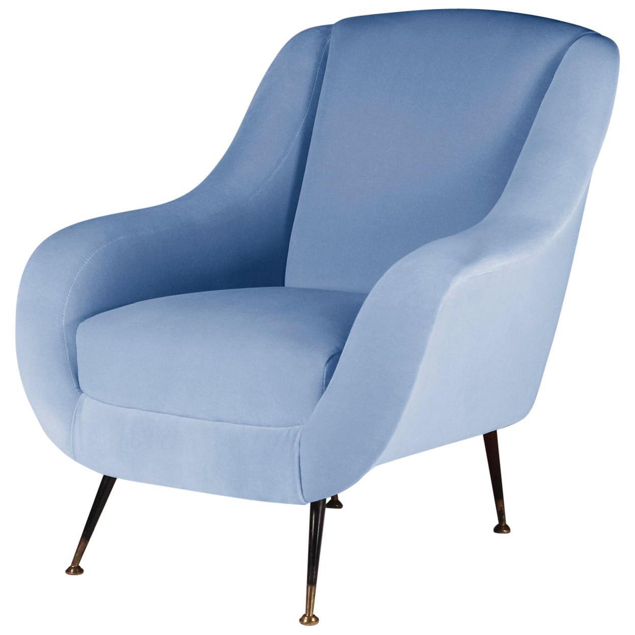 Mid-Century Modern Style Italian Lounge Chair in Light Blue Velvet