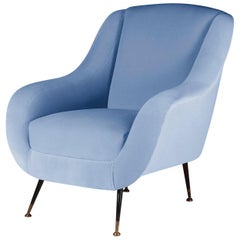 Mid-Century Modern Style Italian Lounge Chair in Light Blue Velvet