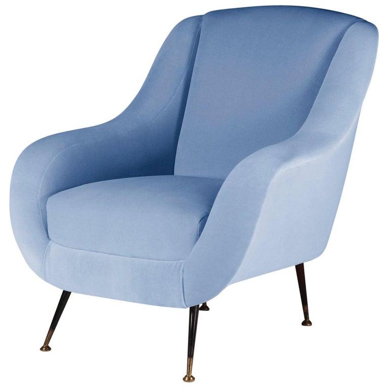 Mid-Century Modern Style Italian Lounge Chair in Light Blue Velvet For Sale