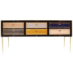 Mid-Century Modern Style Italian Sideboard Made of Wood Brass and Colored Glass