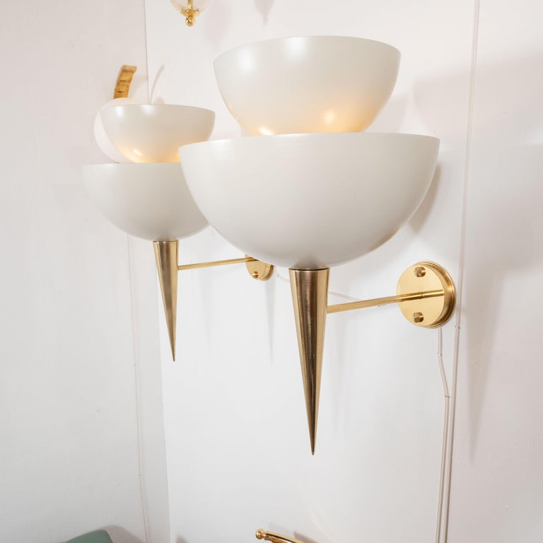 Mid-Century Modern Style Ivory Powder-Coated Metal and Brass Sconces, Italy For Sale 5