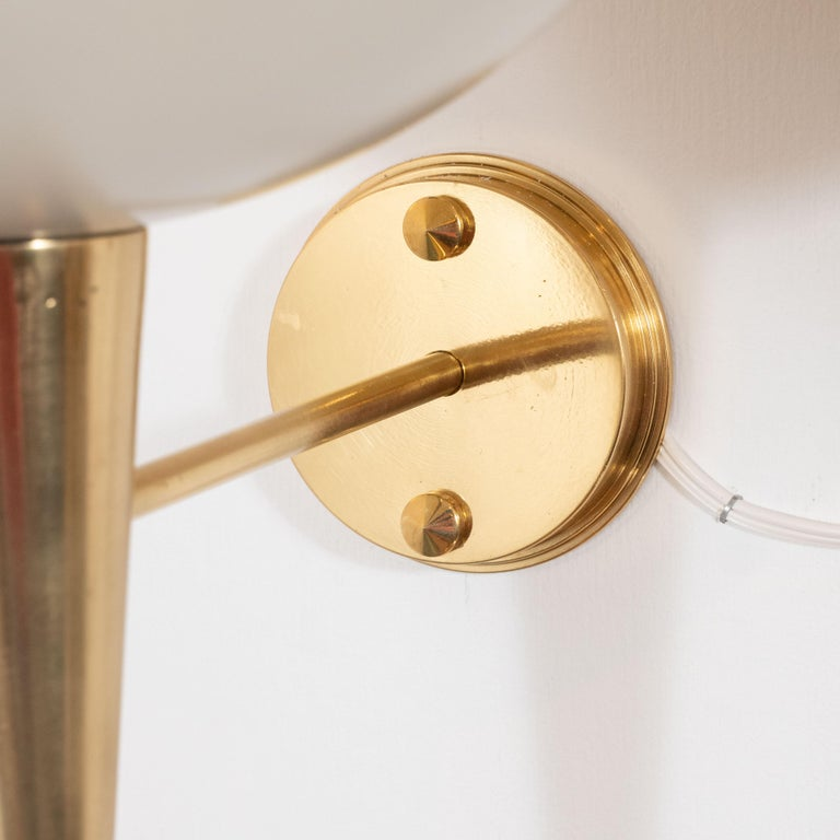 Mid-Century Modern Style Ivory Powder-Coated Metal and Brass Sconces, Italy For Sale 2