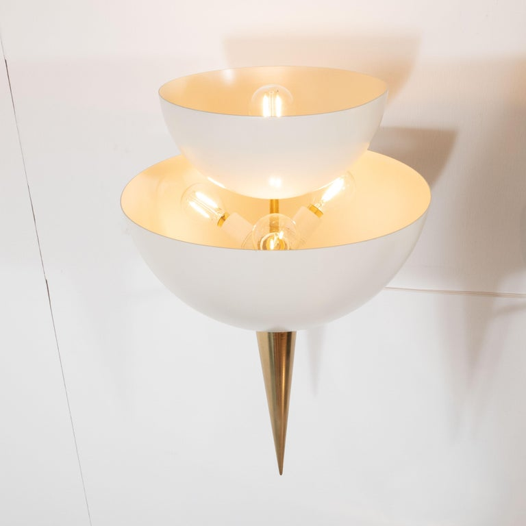 Mid-Century Modern Style Ivory Powder-Coated Metal and Brass Sconces, Italy For Sale 3