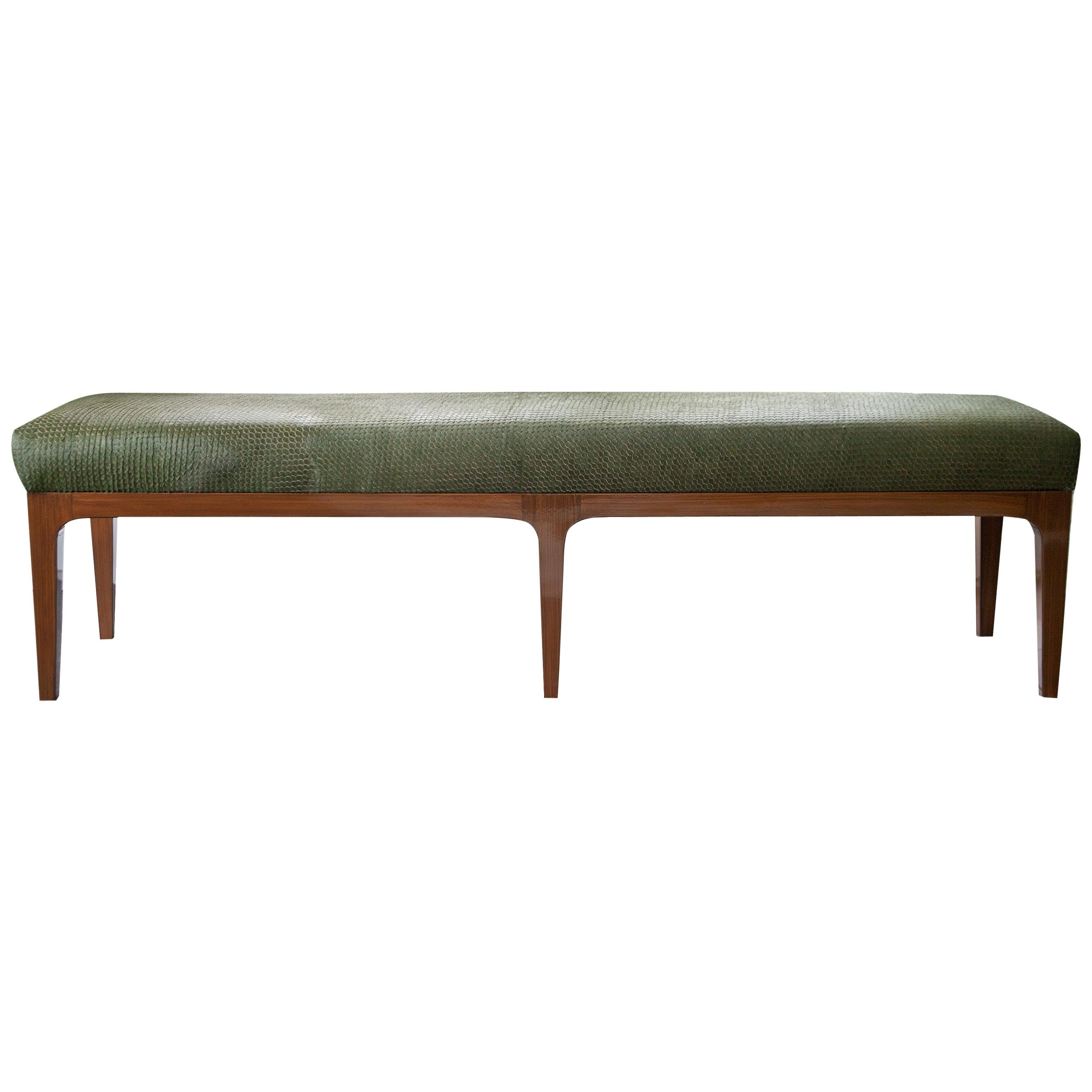 Mid-Century Modern Style Laser Cut Cowhide Hair Upholstered Bench