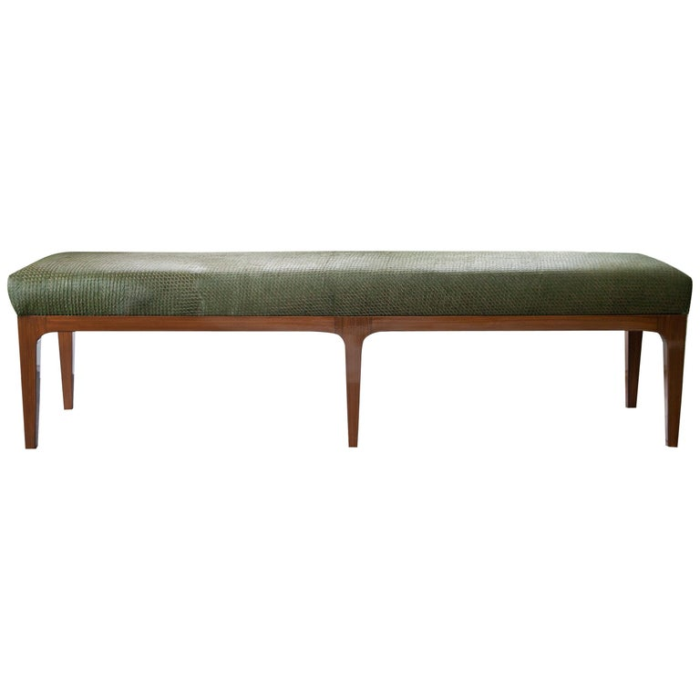 Mid-Century Modern Style Laser Cut Cowhide Hair Upholstered Bench For Sale
