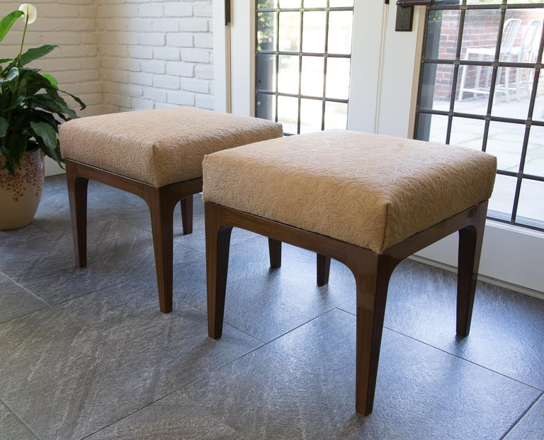 Dyed Pair of Mid-Century Modern Style Laser Cut Floral Pattern Cowhide Ottomans For Sale