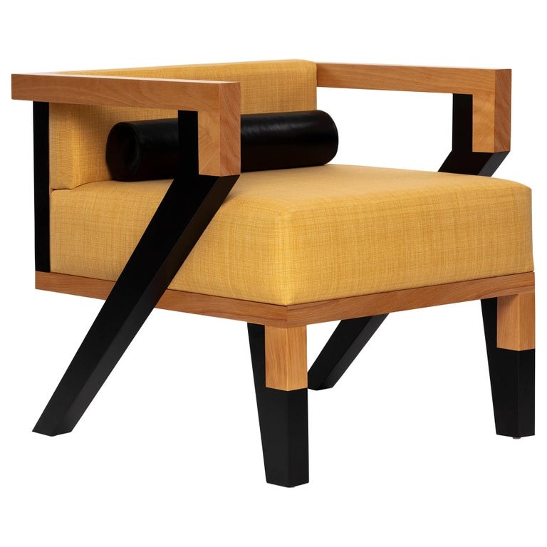 Mid-Century Modern Style Minimal Solid Wood Armchair Upholstered in Textile For Sale