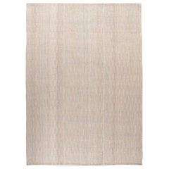 Mid-Century Modern Style Minimalist Textured Flat-Weave Rug