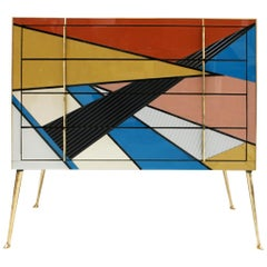 Mid-Century Modern Style Murano Colored Glass and Brass Italian Commode