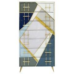 Mid-Century Modern Style Murano Glass and Brass Italian Commode