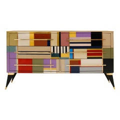 Mid-Century Modern Style Murano Glass and Brass Italian Sideboard by L.A. Studio