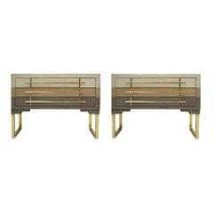 Mid-Century Modern Style Murano Glass and Brass Pair of Italian Commodes