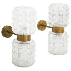 Mid-Century Modern Style Murano Glass and Brass Pair of Italian Sconces
