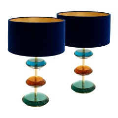 Mid-Century Modern Style Murano Glass and Brass Pair of Italian Table Lamps