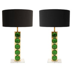 Mid-Century Modern Style Murano Glass Pair of Italian Table Lamps