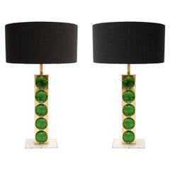 Mid-Century Modern Style Murano Glass Pair of Italian Table Lamps
