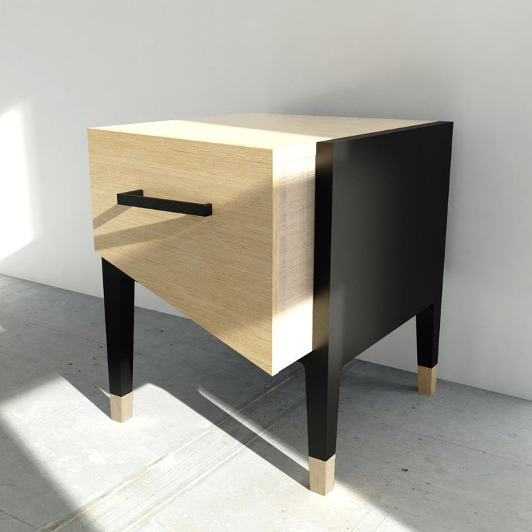 Hand-Crafted Mid-Century Modern Style Nightstand or End Table in Solid Wood For Sale