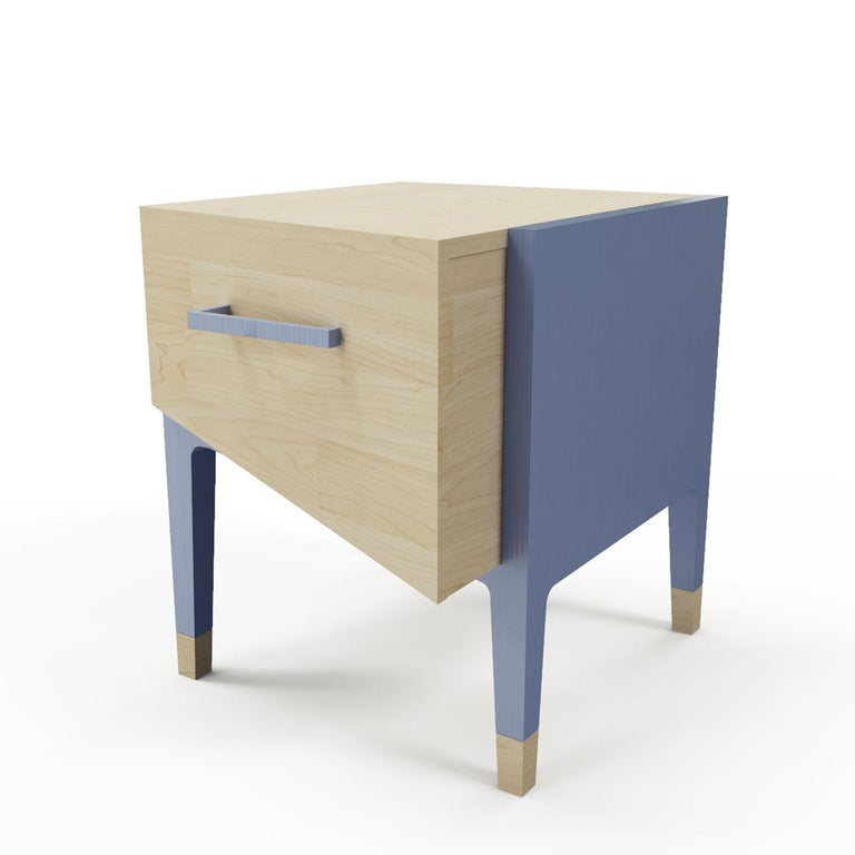 Contemporary Mid-Century Modern Style Nightstand or End Table in Solid Wood For Sale