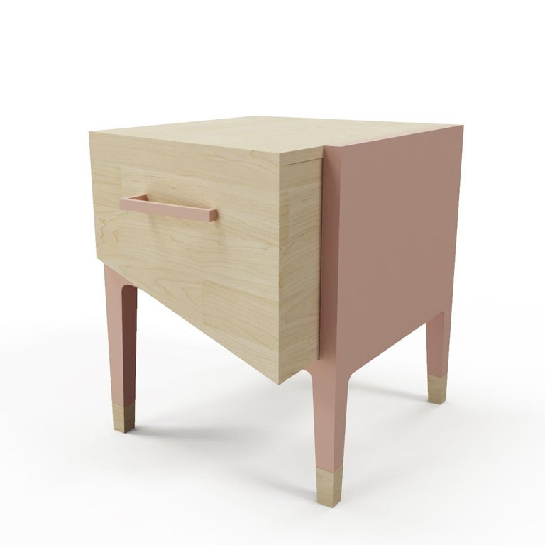 Mid-Century Modern Style Nightstand or End Table in Solid Wood For Sale 2