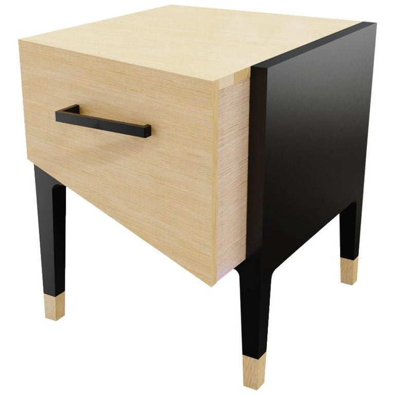 Mid-Century Modern Style Nightstand or End Table in Solid Wood For Sale