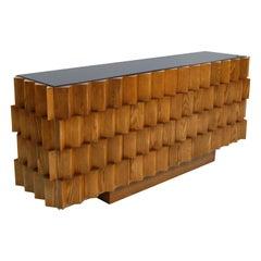 Mid-Century Modern Style Oak Wood and Black Glass Italian Sideboard