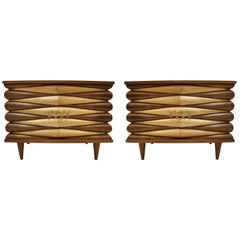 Mid-Century Modern Style Oakwood Pair of Italian Sideboards