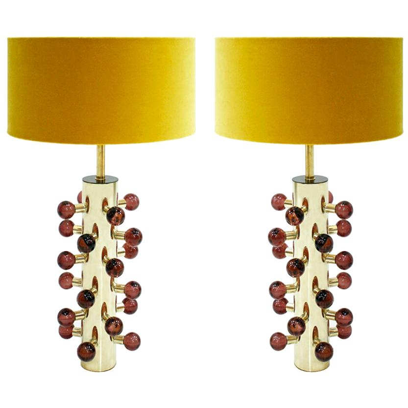 Mid-Century Modern Style Pair of Brass and Murano Glass Italian Table Lamps