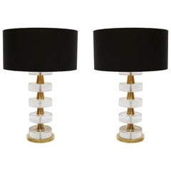 Mid-Century Modern Style Pair of Sculptural Murano Glass Italian Table Lamps