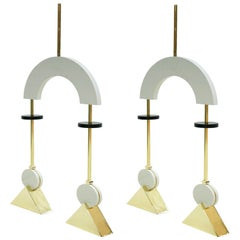Mid-Century Modern Style Pair of White Lacquered Wood and Bronze Pendant Lamps