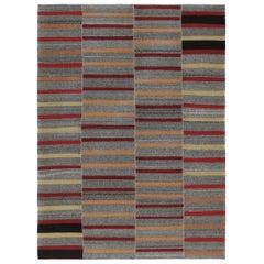 Mid-Century Modern Style Persian Flat-Weave Stripe Rug