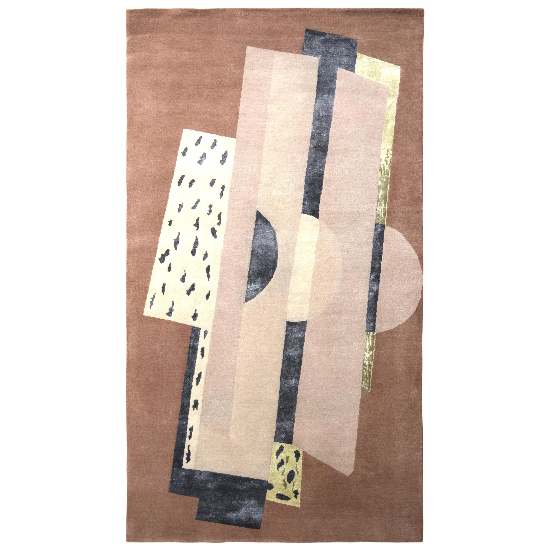 Rug & Kilim's Mid-Century Modern Style Rug in Beige Brown Geometric Pattern