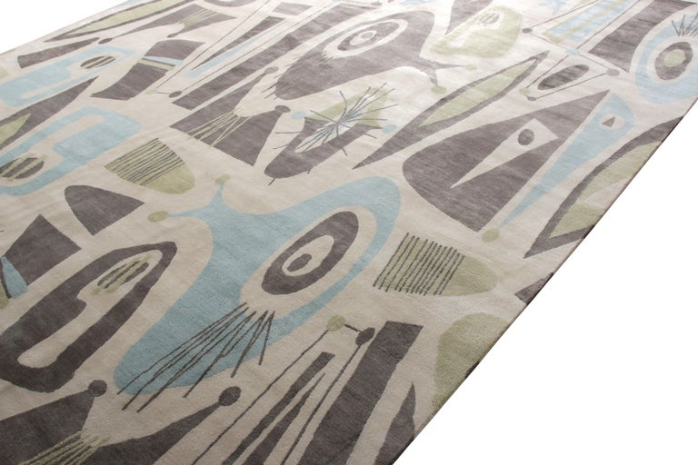 Indian Mid-Century Modern Style Rug in Beige Green and Blue by Rug & Kilim For Sale