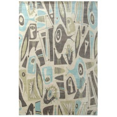 Mid-Century Modern Style Rug in Beige Green and Blue by Rug & Kilim