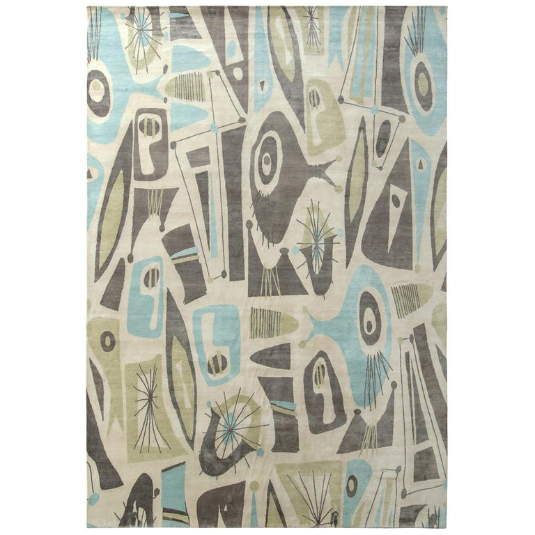 Mid-Century Modern Style Rug in Beige Green and Blue by Rug & Kilim For Sale