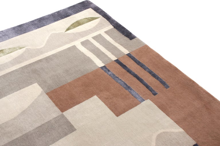 Indian Mid-Century Modern Style Rug in Gray and Brown Geometric Pattern by Rug & Kilim For Sale
