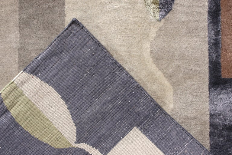 Mid-Century Modern Style Rug in Gray and Brown Geometric Pattern by Rug & Kilim In New Condition For Sale In Long Island City, NY