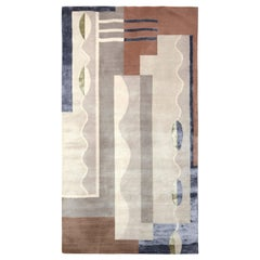 Mid-Century Modern Style Rug in Gray and Brown Geometric Pattern by Rug & Kilim