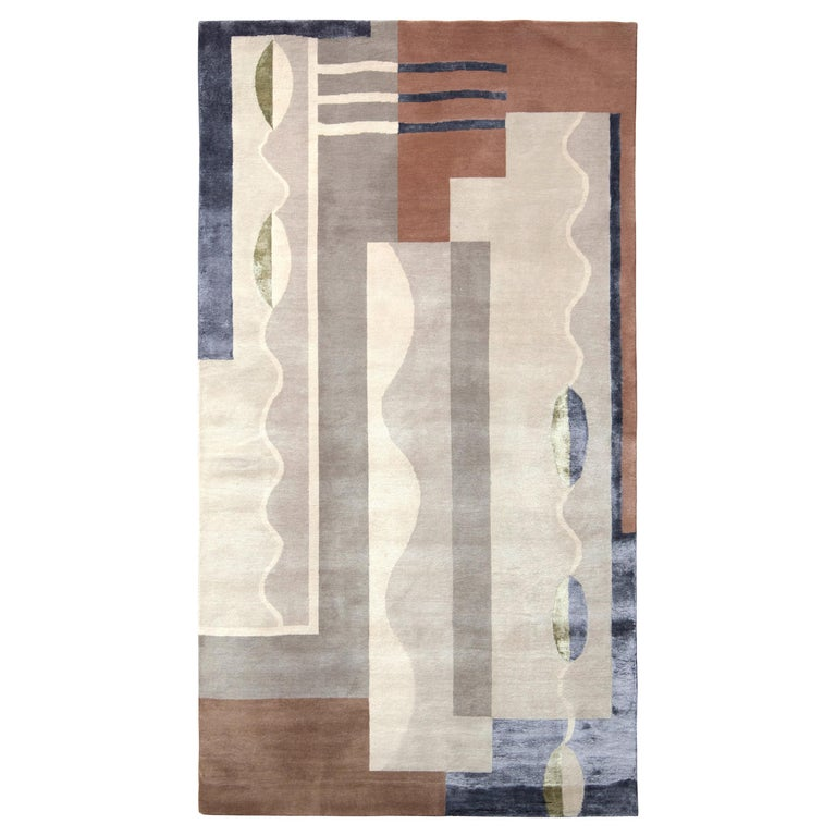 Mid-Century Modern Style Rug in Gray and Brown Geometric Pattern by Rug & Kilim For Sale
