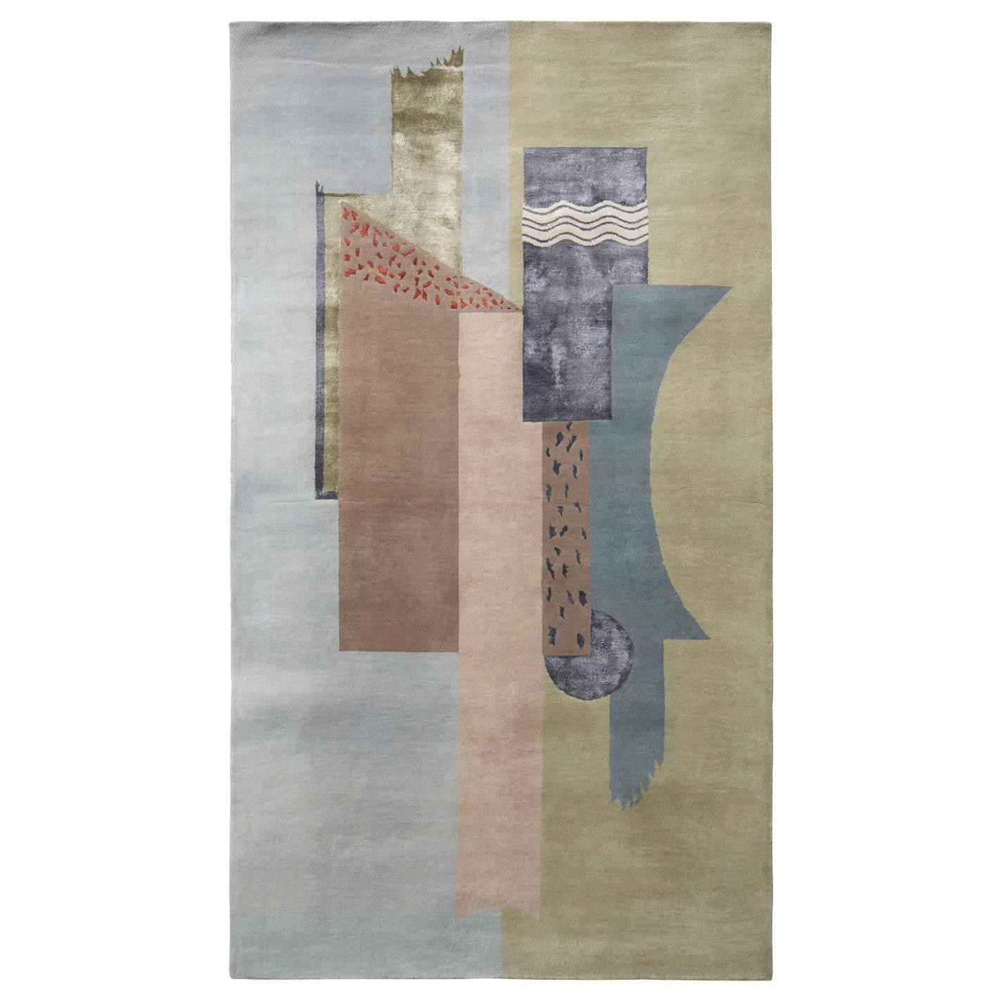 Rug & Kilim's Mid-Century Modern Style Rug in Green Gray and Beige Pattern
